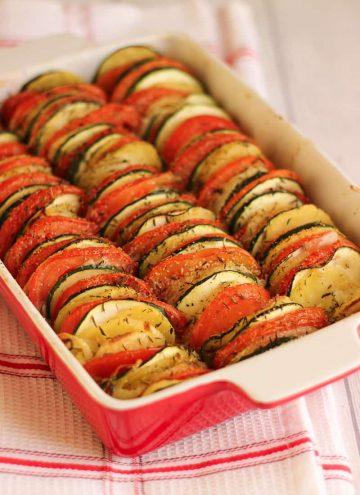 Tian de légumes à la mozzarella